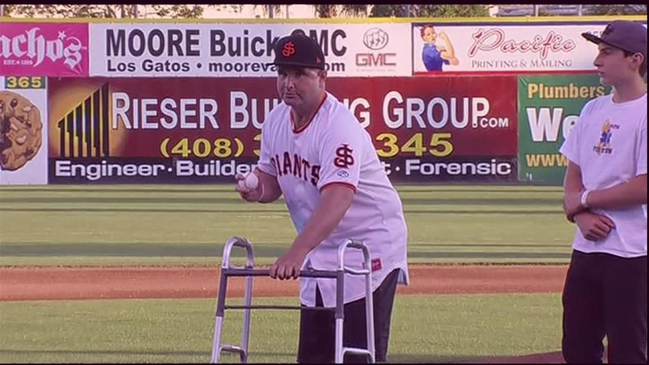 RAW VIDEO: Bryan Stow throws first pitch at SJ Giants game