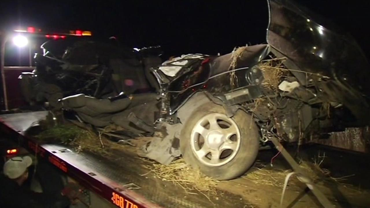 Four people were killed in a DUI car crash in Gilroy on Tuesday, May 12, 2015. The driver was hospitalized and arrested.