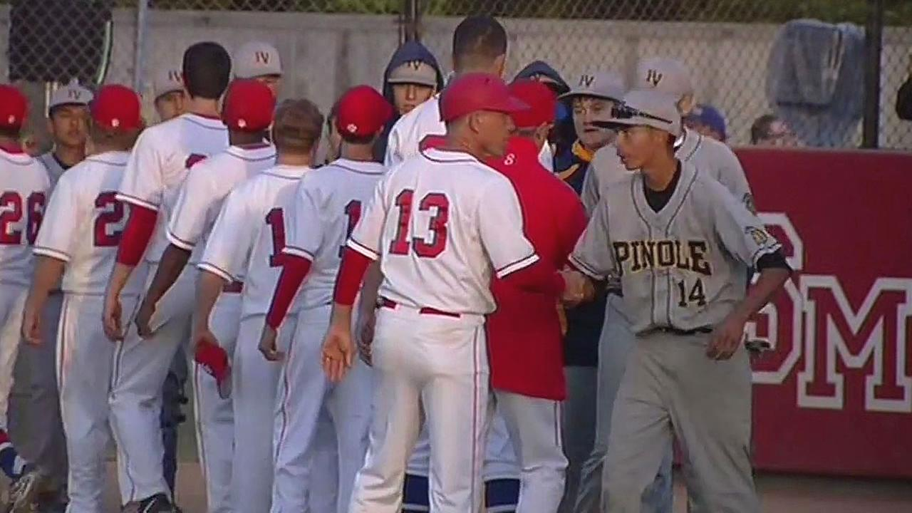 Pinole Valley, Saint Marys High School baseball teams shake hands