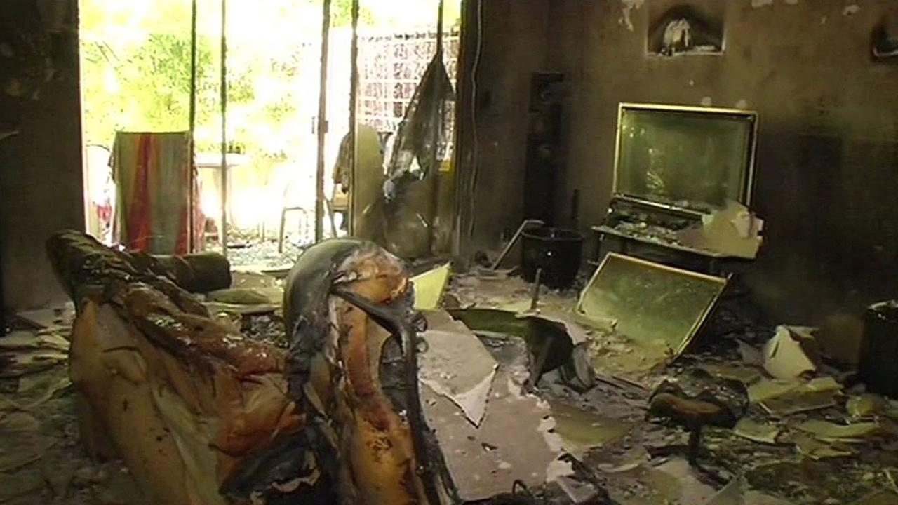 apartment badly damaged by a fire at a Kentfield apartment complex