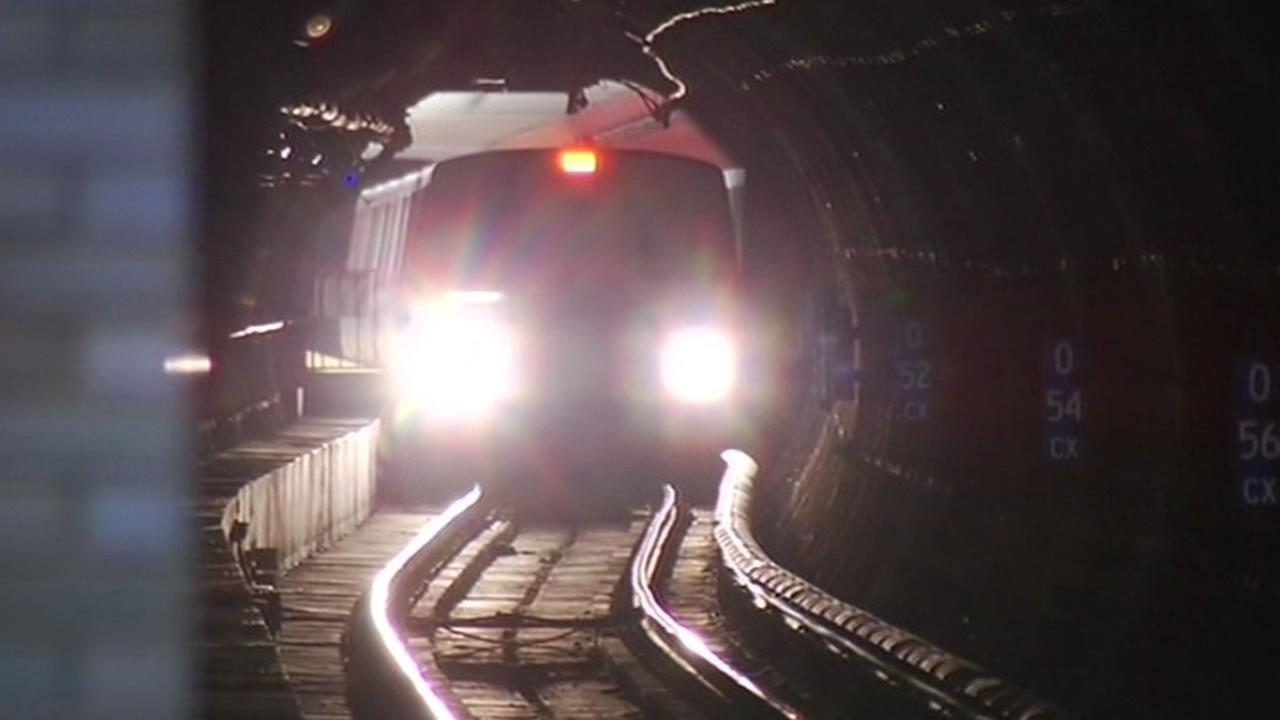 BART train inside the Transbay Tube