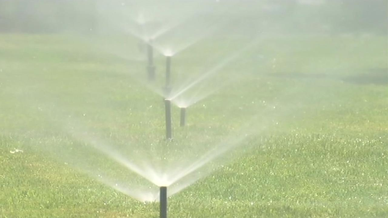 File photo - A sprinkler system waters grass in this undated image.