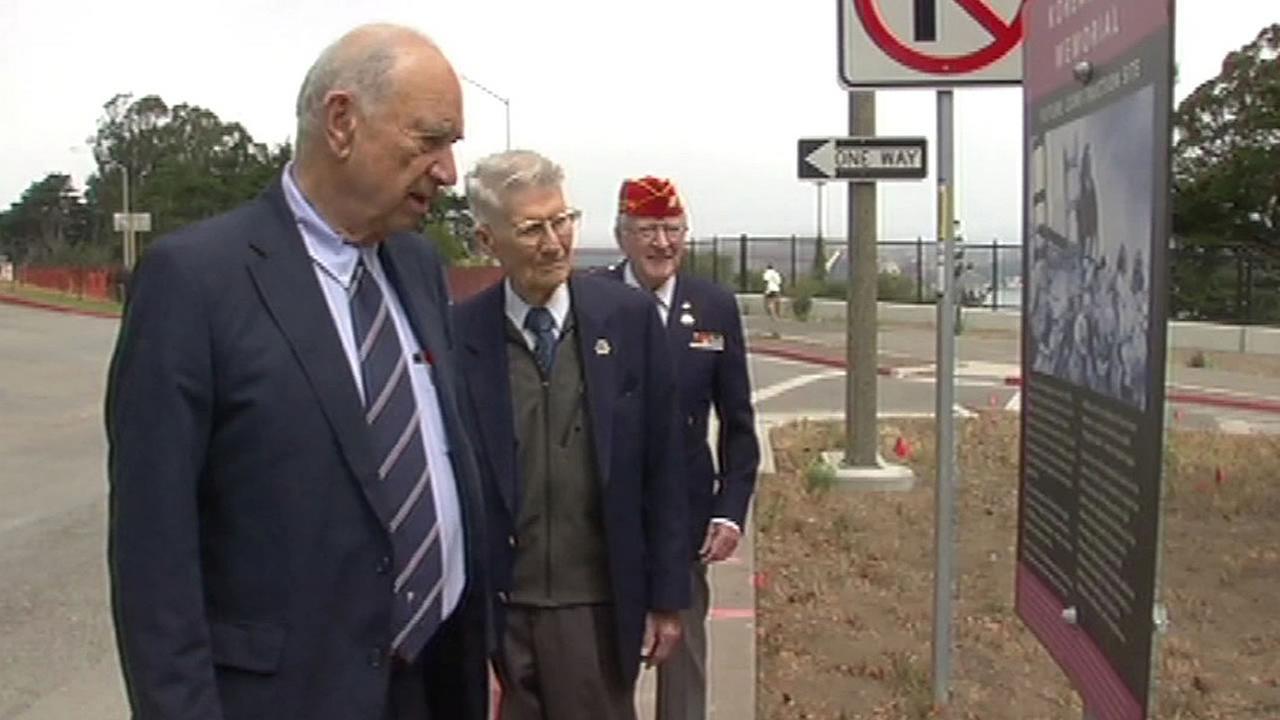 Quentin Kopp, Lt. Col. John Stevens, and Don Reid look at future Korean War memorial