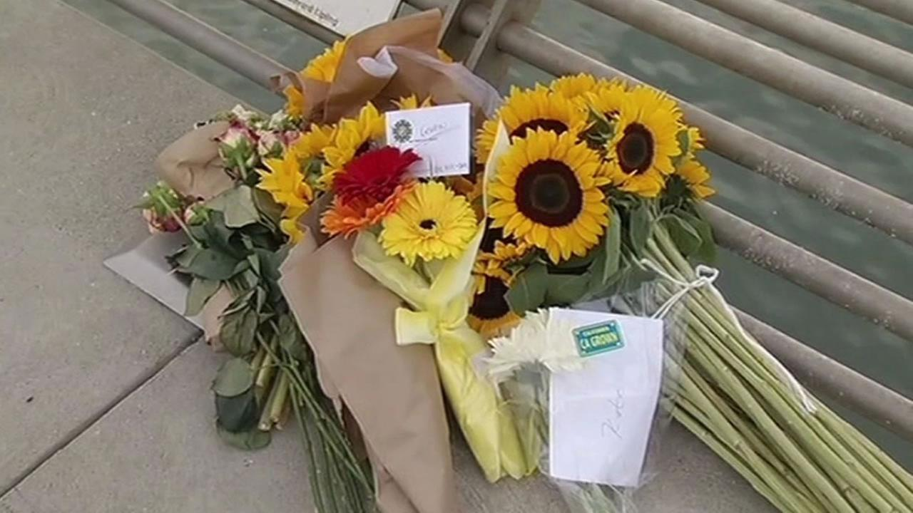 flowers left on San Franciscos Pier 14 for Kate Steinle