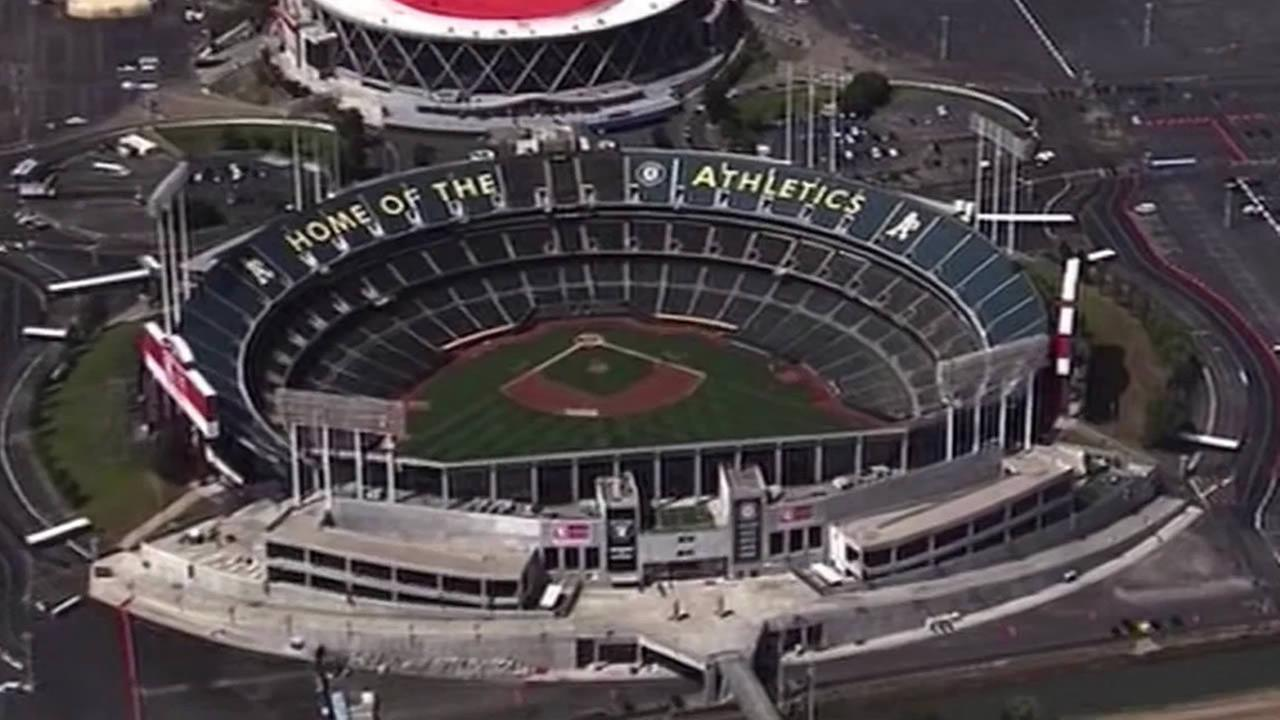 FILE - In  this undated photo an aerial shot of the Oakland Coliseum is seen.