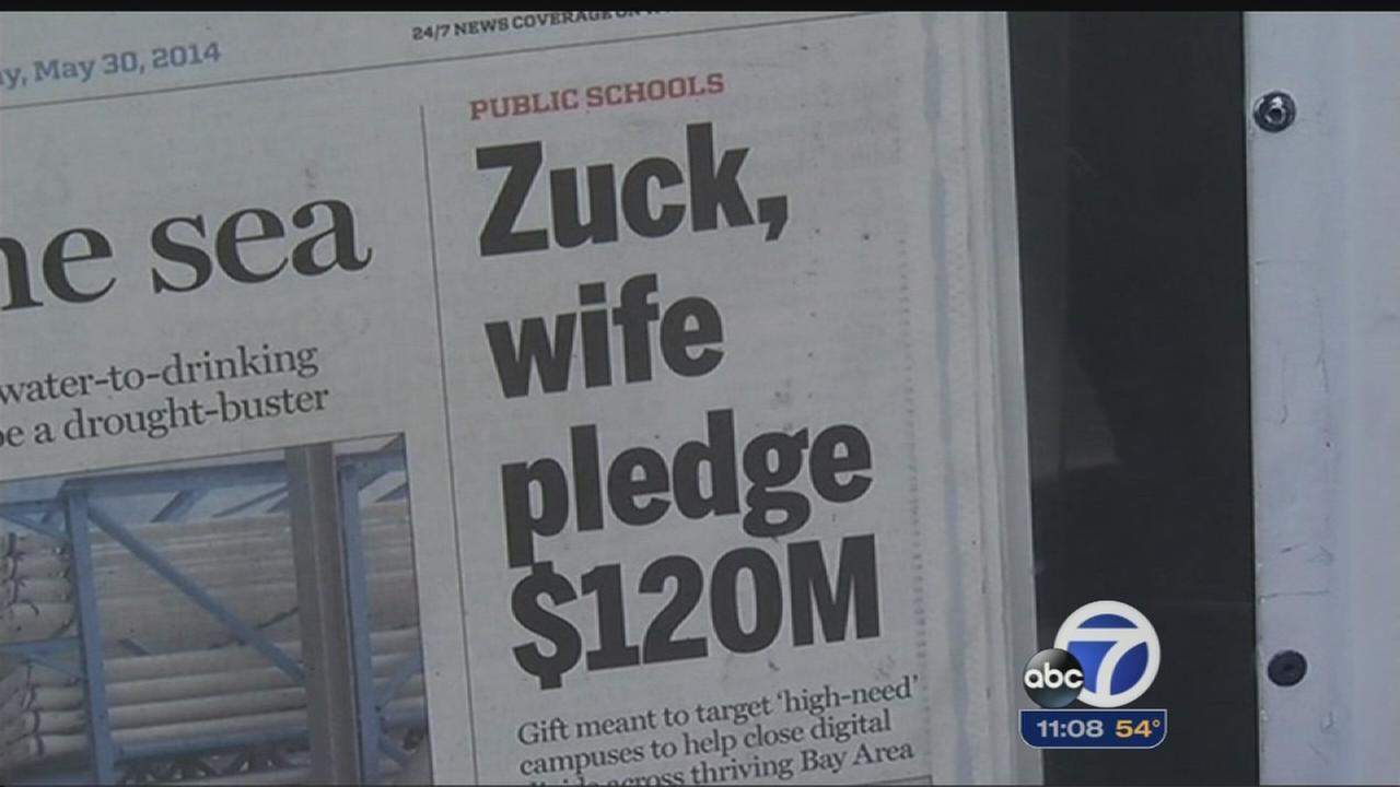Facebook CEO promises big donation to schools