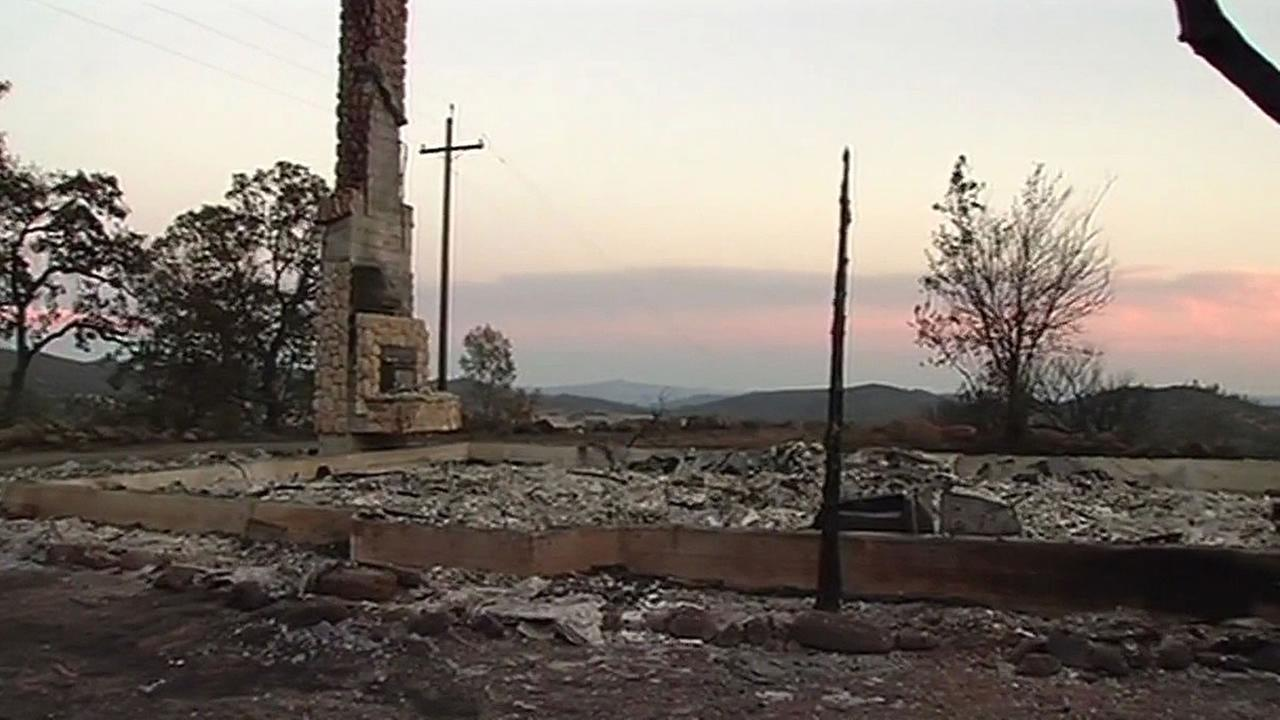 chimney is left standing after Rock Fire burns home down