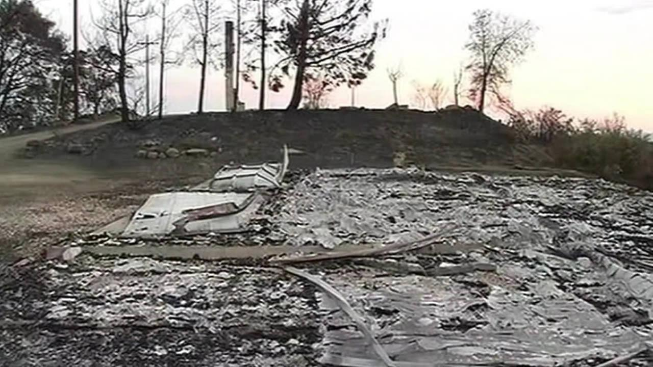 destroyed home after Rocky Fire