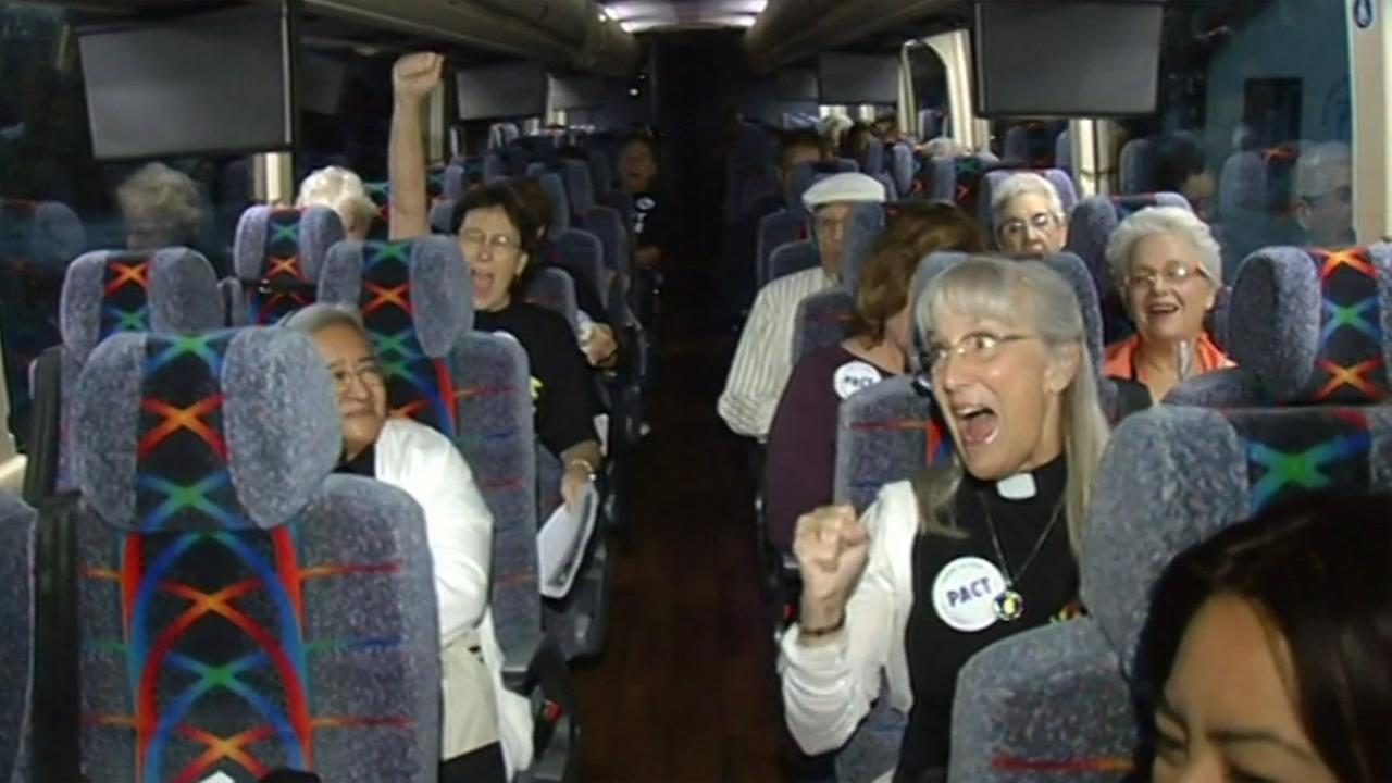 Members of South Bay Pact on their way to Sacrament, Calif. on Wednesday, September 2, 2015, to rally in support of a bill requiring police document the race of people pulled over.