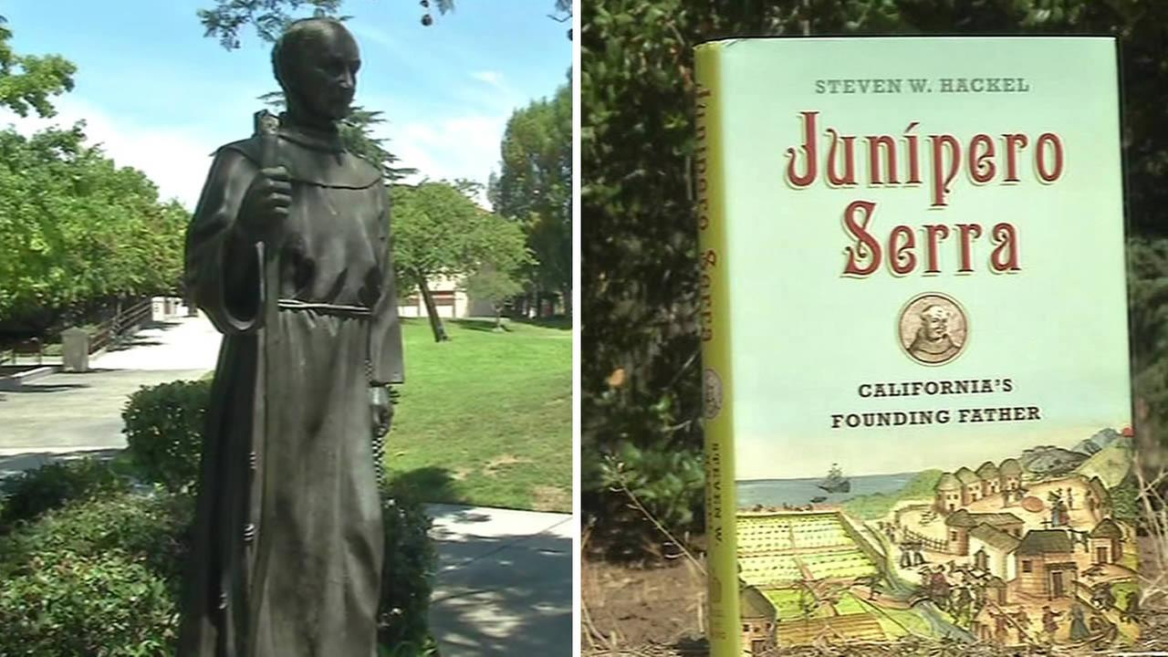 statue of Father Junipero Serra and a book written about him