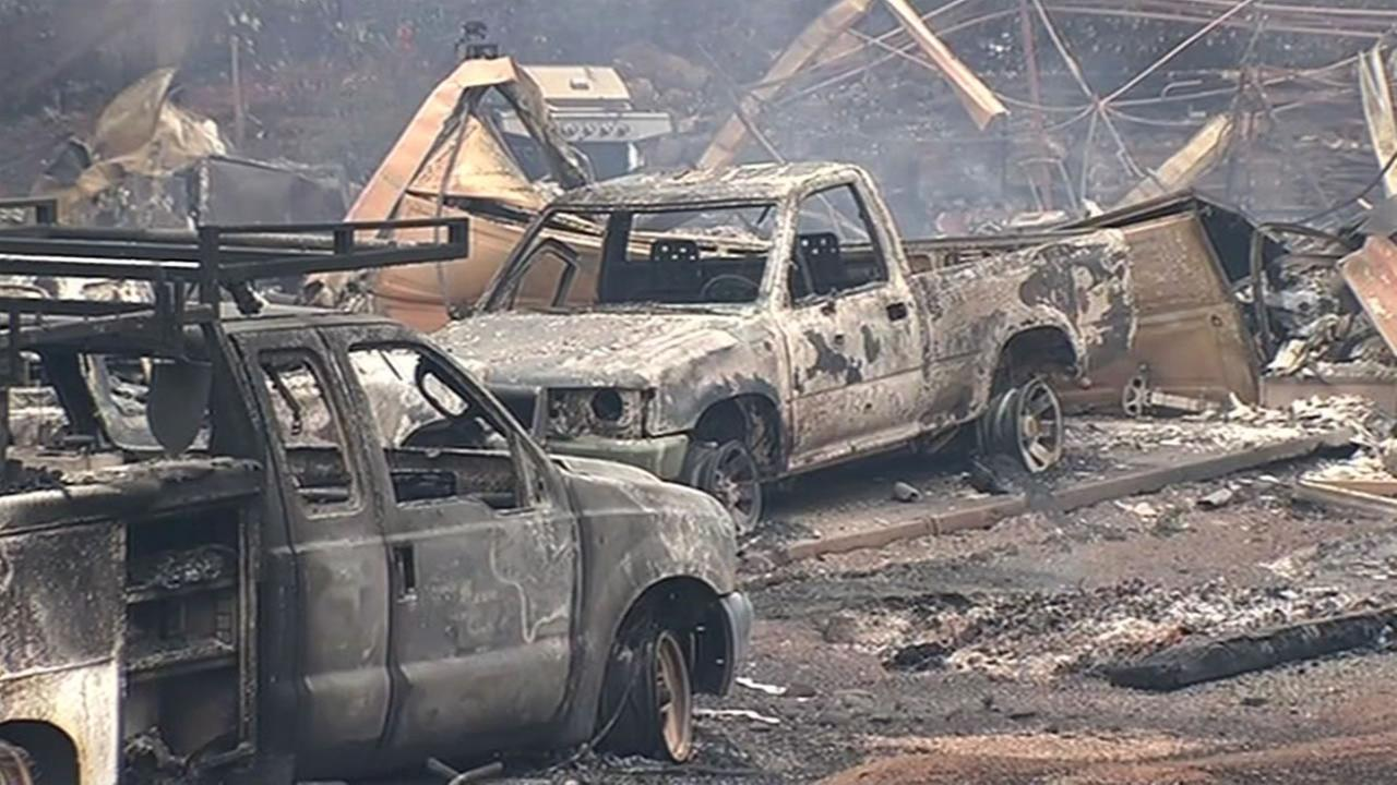 The Valley Fire has destroyed hundreds of homes and in Napa, Lake and Sonoma counties, Sept. 14, 2015.