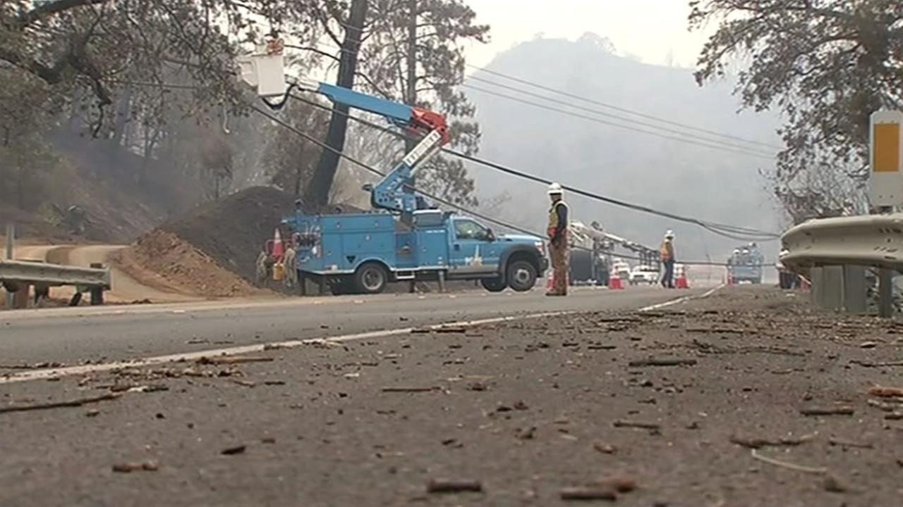 PG&E crews are assessing the damage in Middletown, Calif, in the aftermath of the Valley Fire on Tuesday, September 15, 2015.