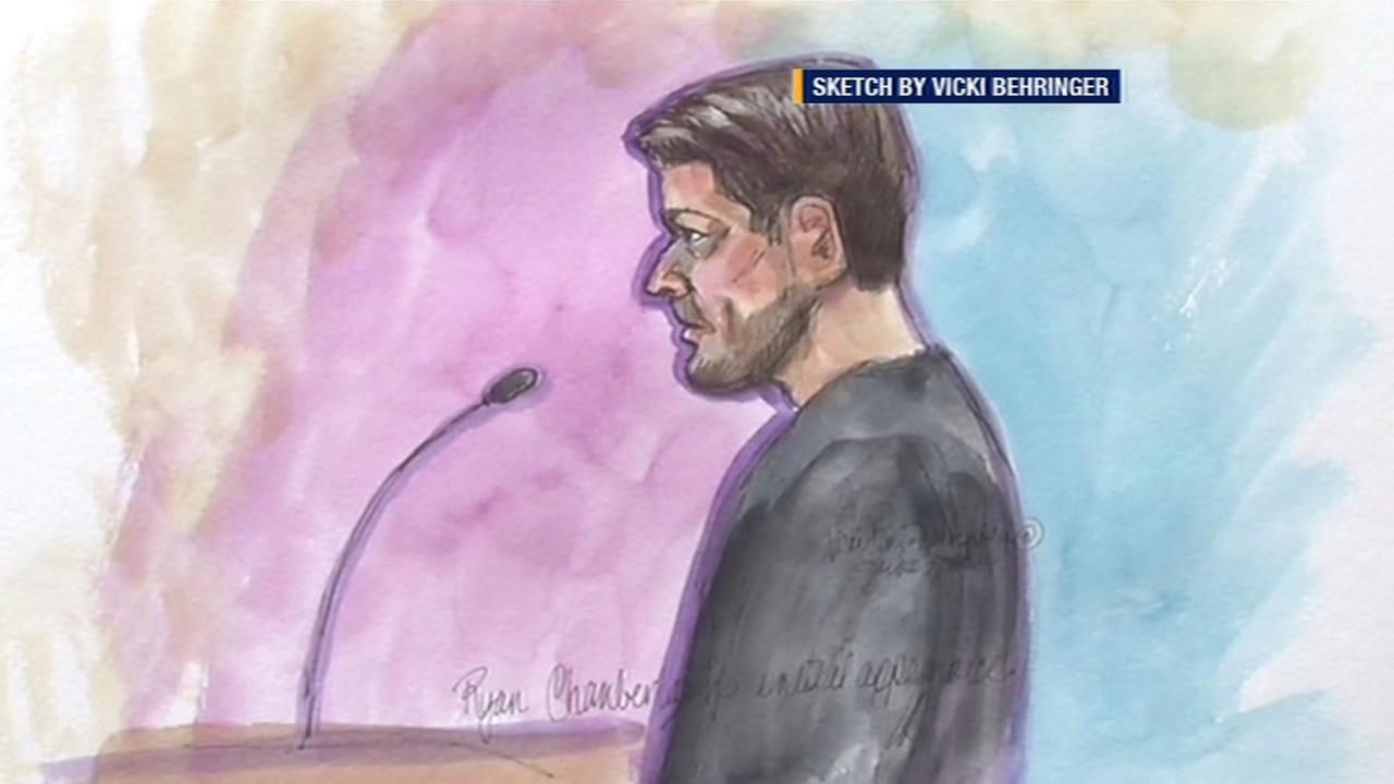 In this sketch, Ryan Chamberlain is shown during a court appearance.