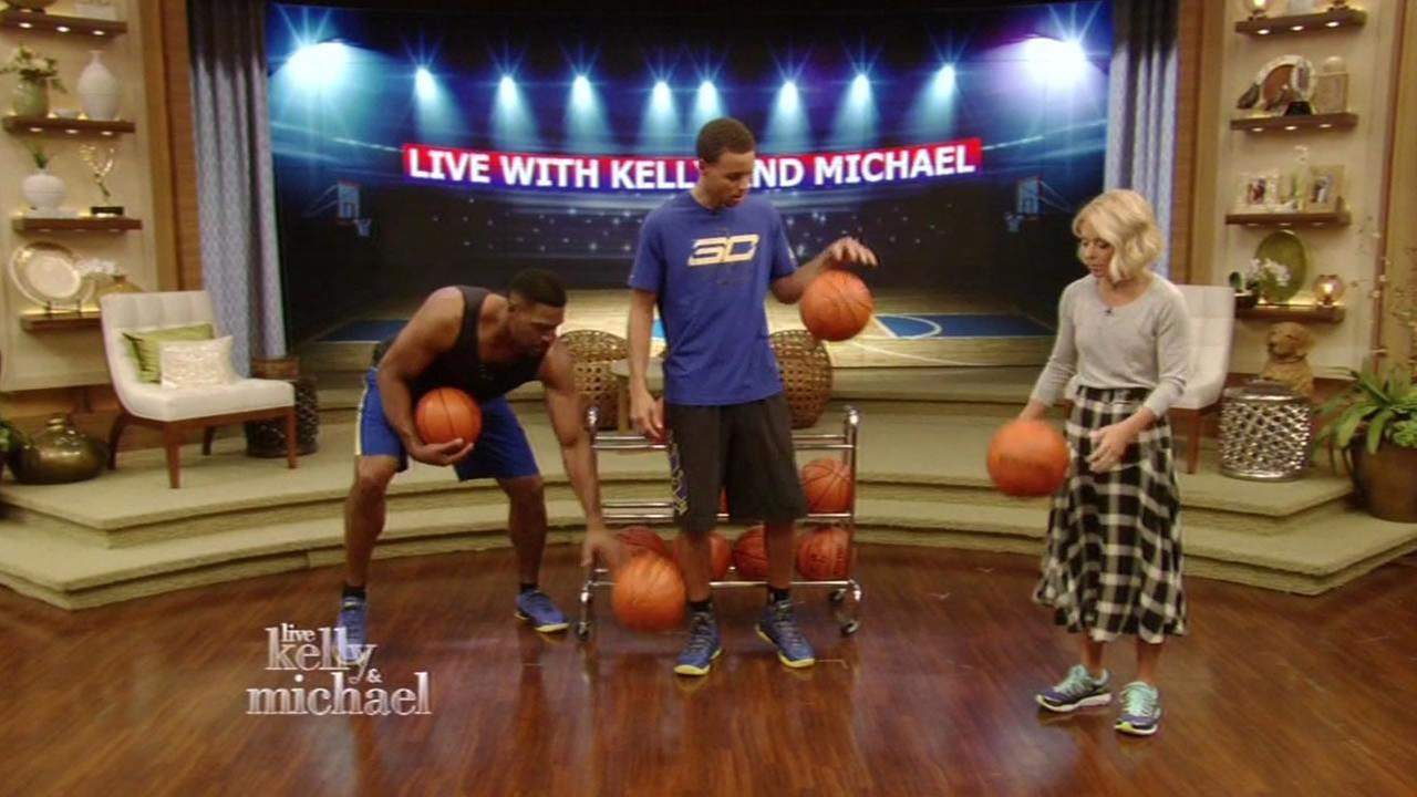 Golden State Warriors Stephen Curry stops by Live! with Kelly and Michael to show off his dribbling skills on Tuesday, September 22, 2015.