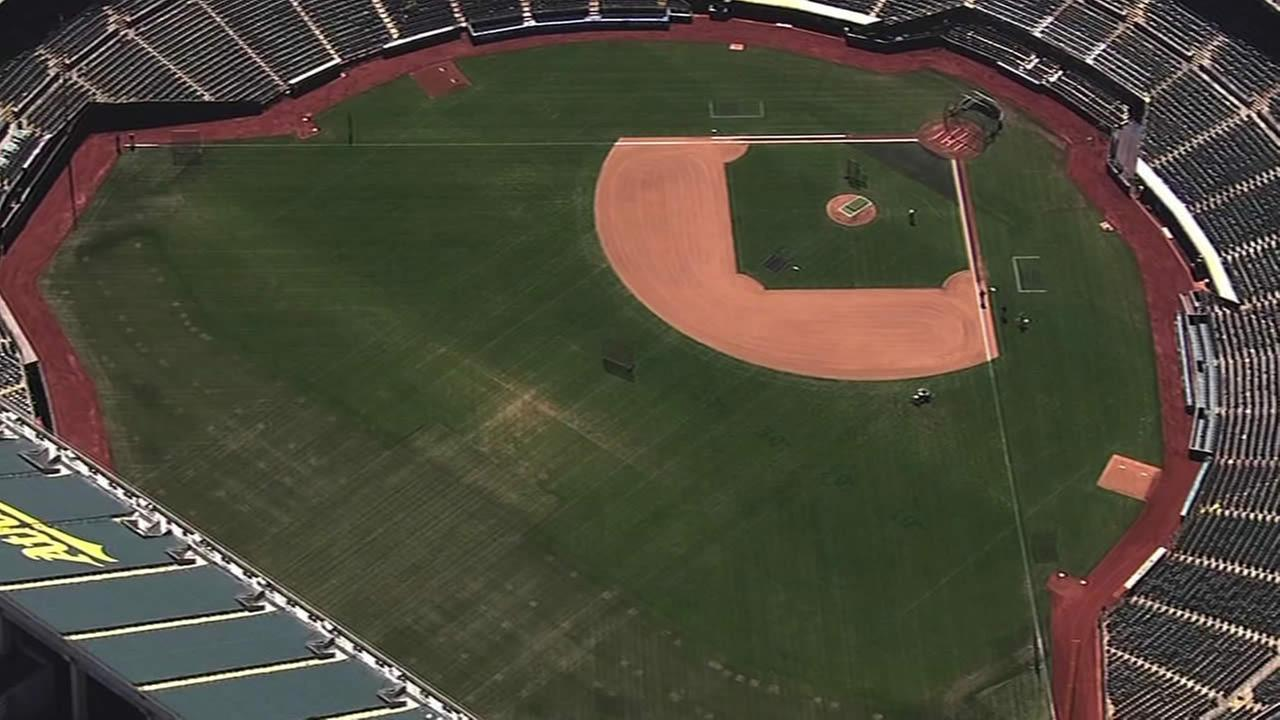 FILE - The field at the O.co Coliseum is seen in this undated image.