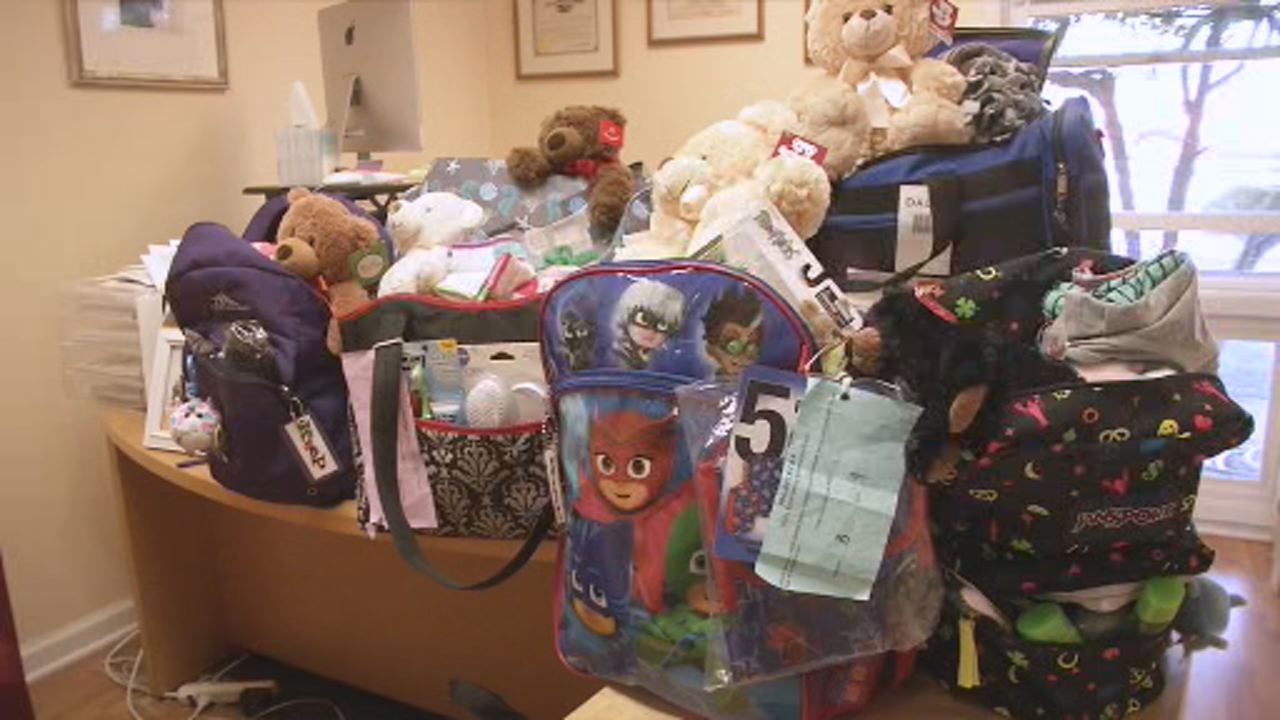 This image shows backpacks filled with essential items for children in foster care in Marin County on Dec.6.