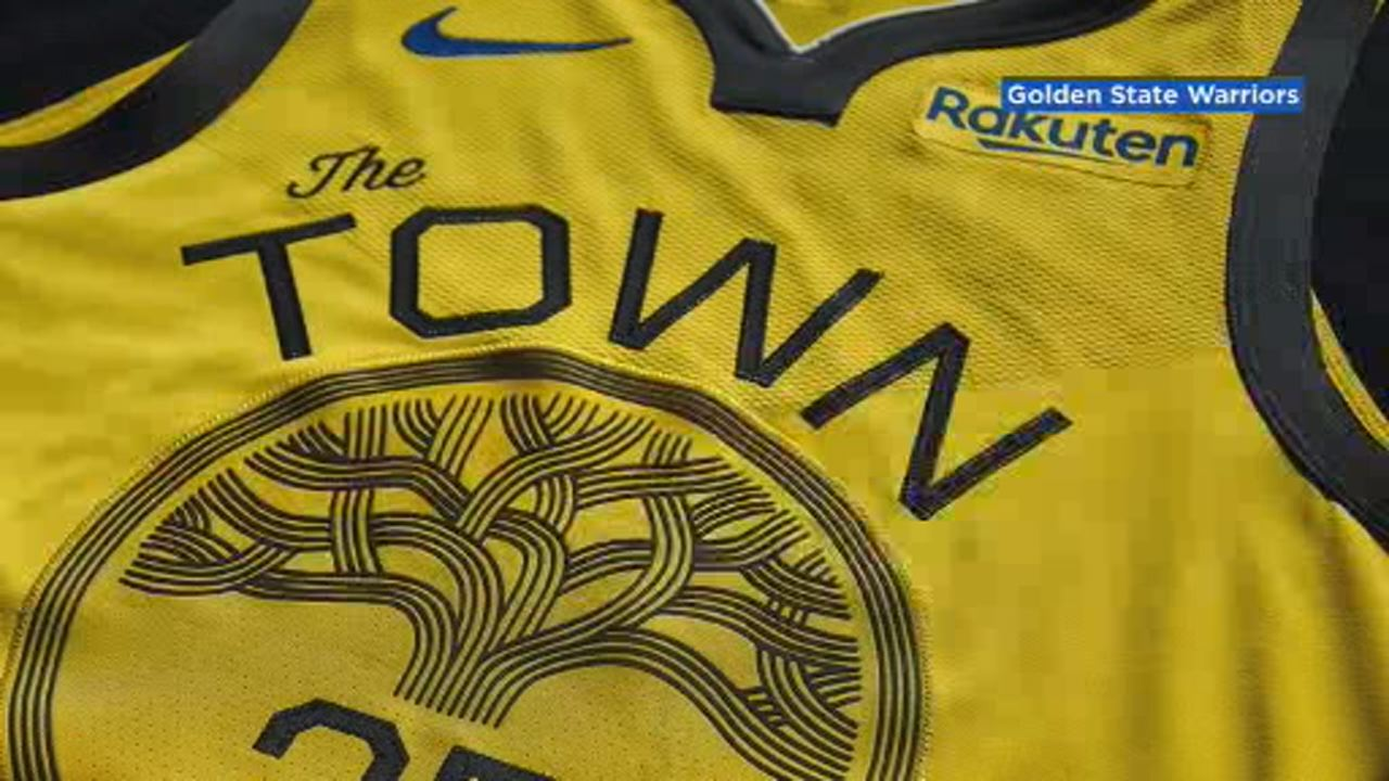 This image shows the Warriors new Town Gold jersey, unveiled on Dec. 12.