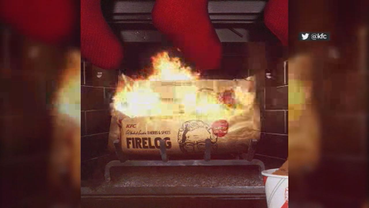 This image shows firelog that smells just like fried chicken, according to KFC.