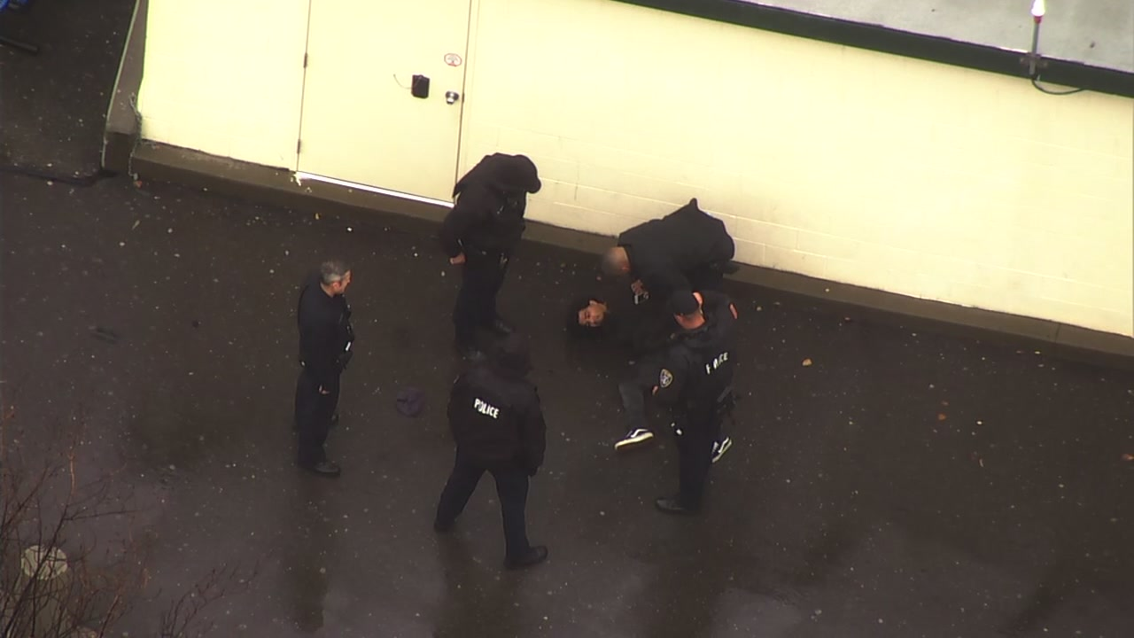 Police arrest suspect after chase near Oracle Arena in Oakland on Tuesday, January 15, 2019.