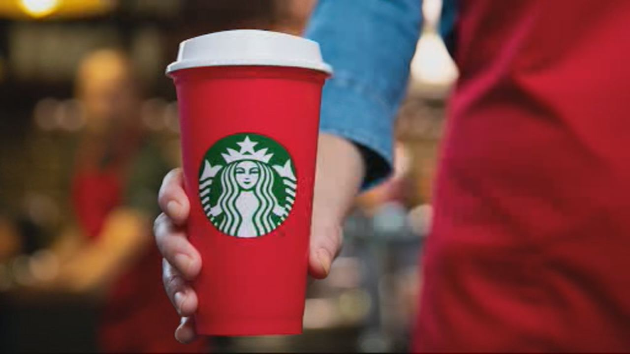 This undated image shows a limited-edition reusable red cup from Starbucks.