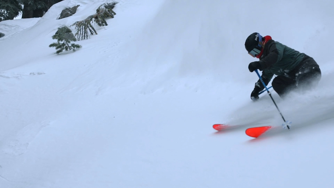 A skier hits the slopes at Sierra-at-Tahoe.