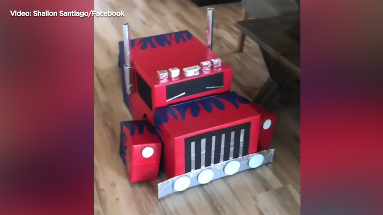Shallon Santiago made this Transformers costume for her 4-year-old.