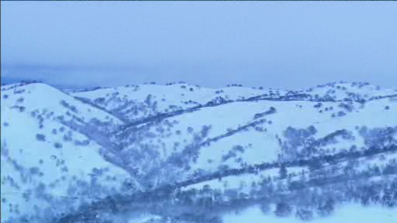 This image from Sky7 shows snow covered foothills between Mount Hamilton and Livermore on Feb. 5.