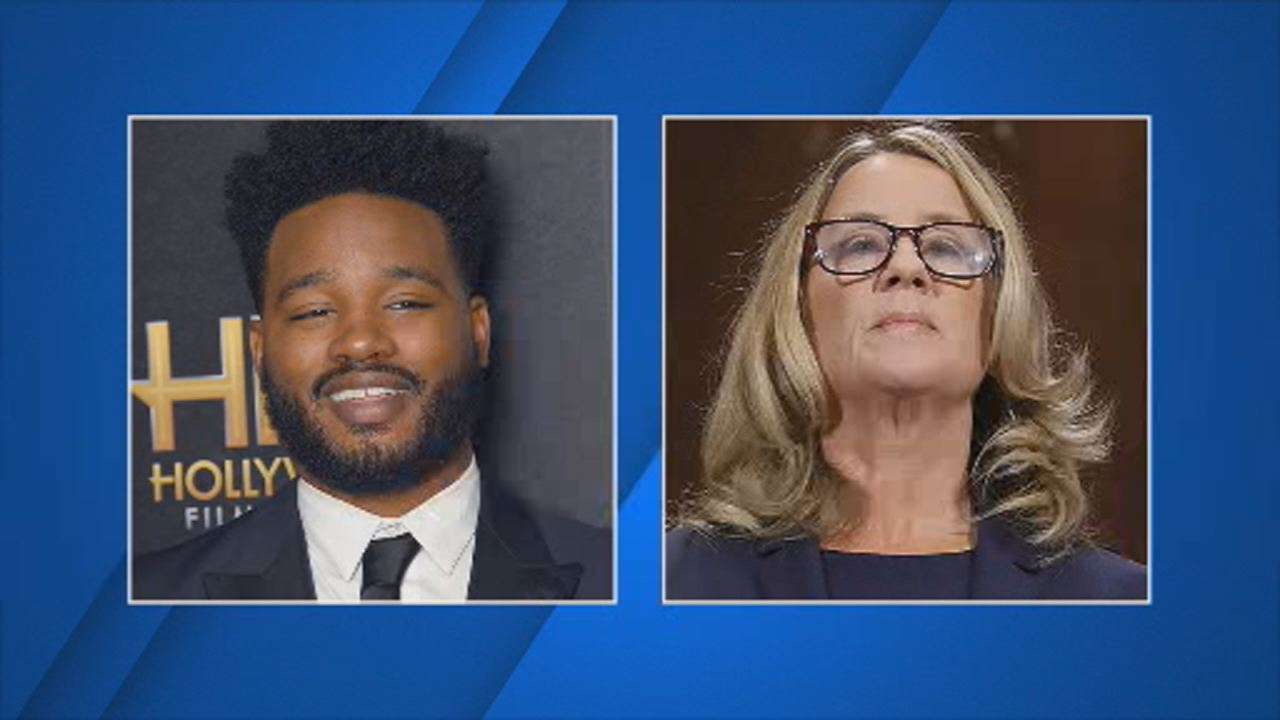 (Left) Black Panther director Ryan Coogler and (right) Christine Blasey Ford