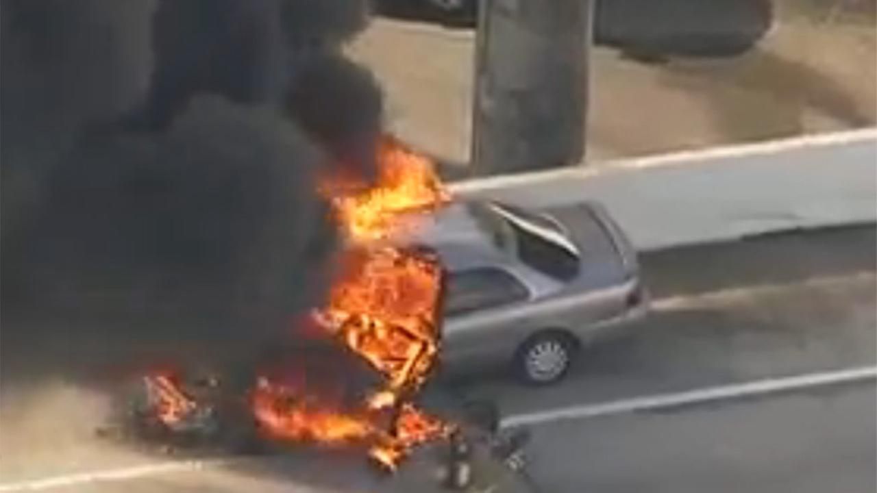 Car fire has ramp from 59 SB to I-45 shut down
