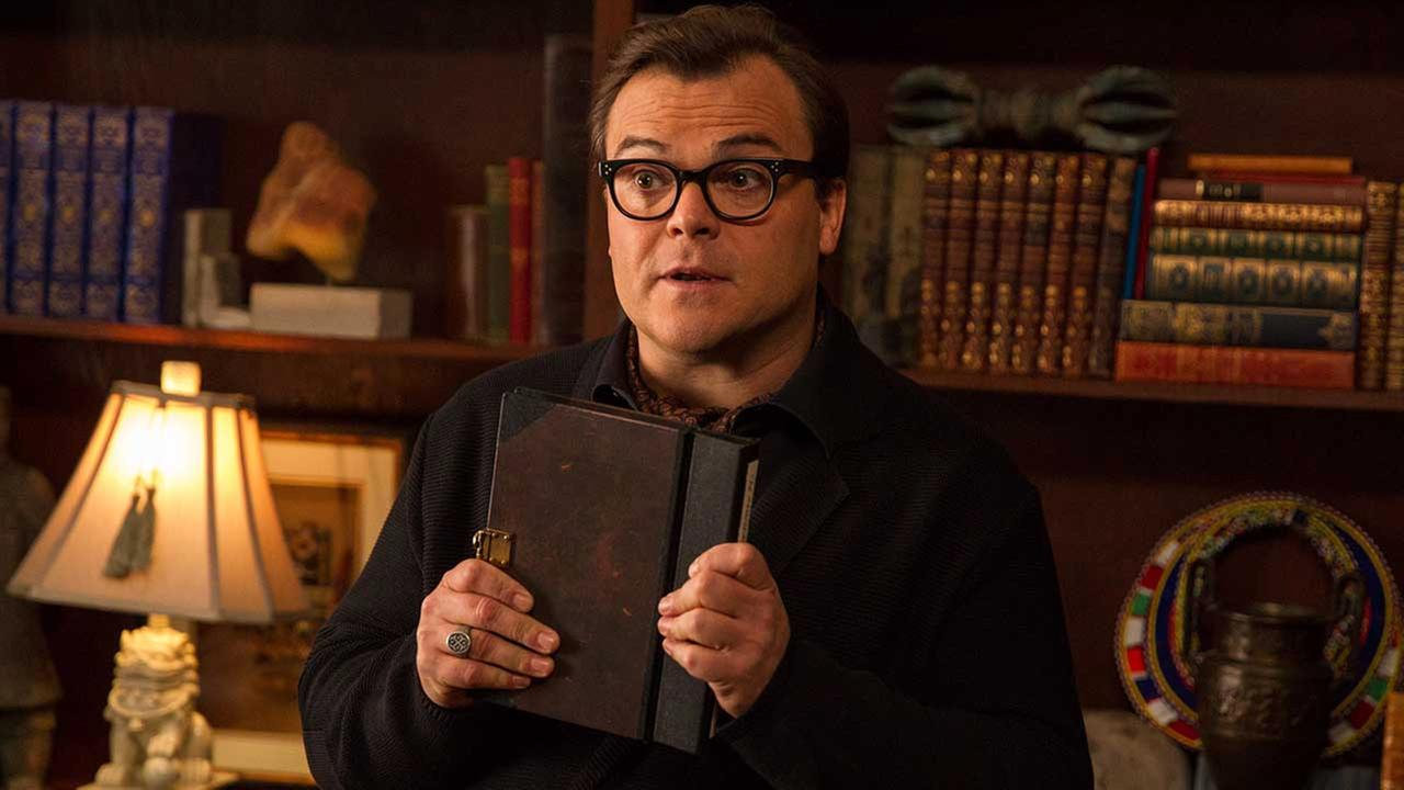 In this photo provided by Columbia Pictures, Jack Black who stars as R.L. Stine, Slappy, and Invisible Boy, appears in a scene in Columbia Pictures Goosebumps.