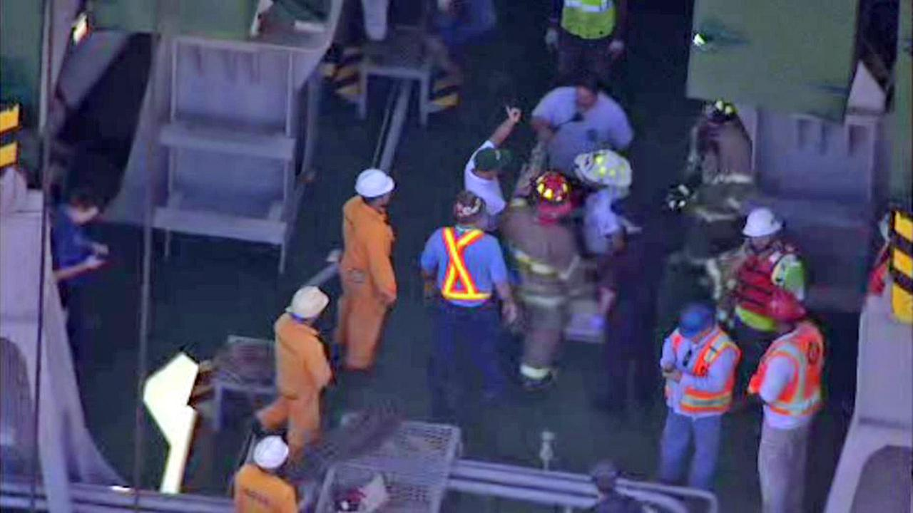 Crew member rescued after fall on container ship in east Harris County