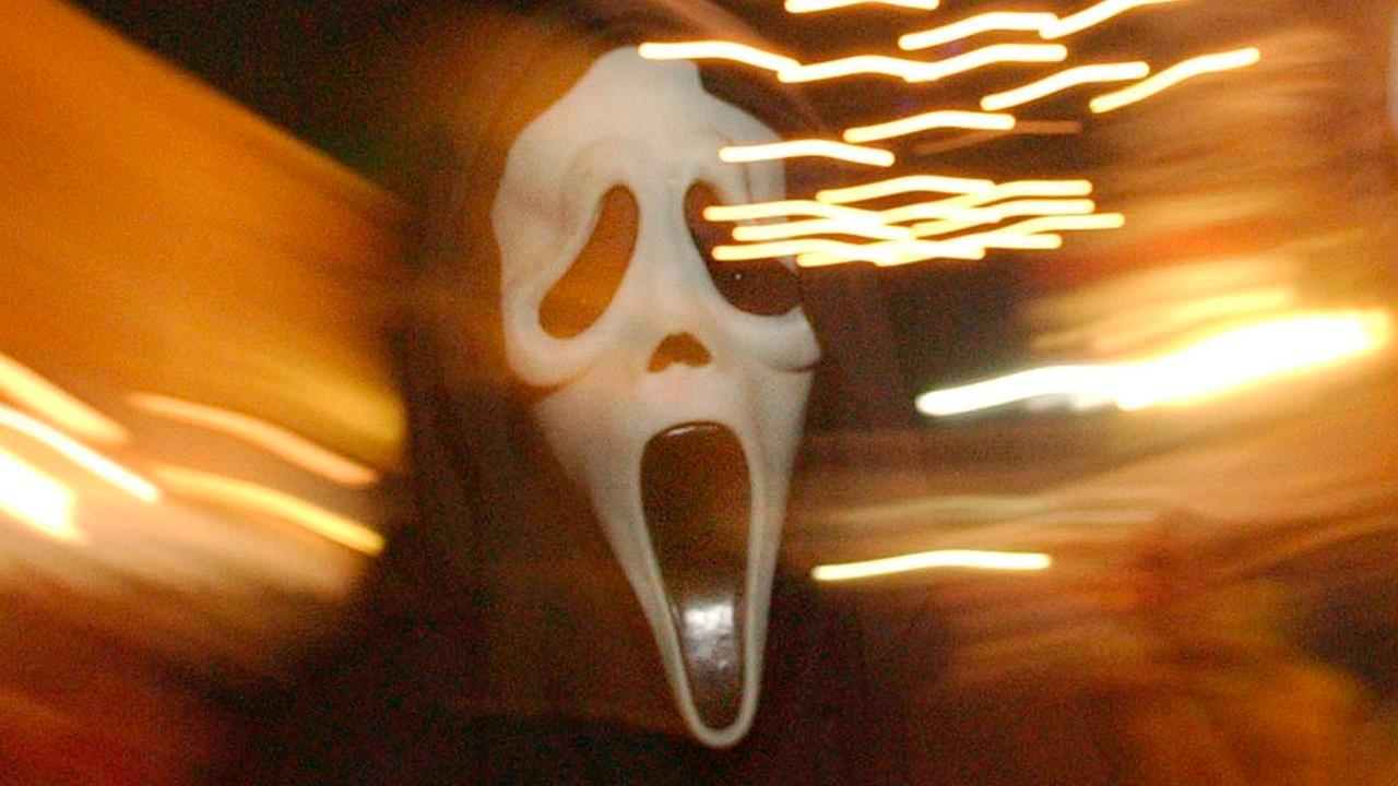 A Scream mask seen in this Friday, Oct. 29, 2004, photo