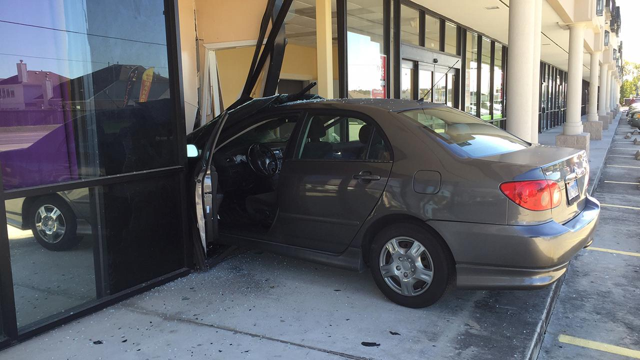 A car crashed into a building this morning on Houstons north side