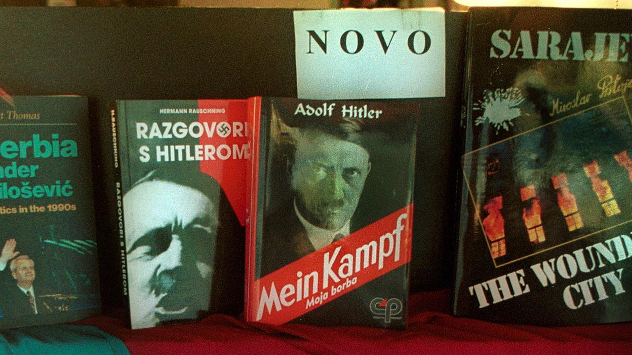 In this Dec. 8, 1999 file photo a book store displays Adolf Hitlers Mein Kampf, and another book about Hitler entitled Talks with Hitler in downtown Sarajevo, Bosnia