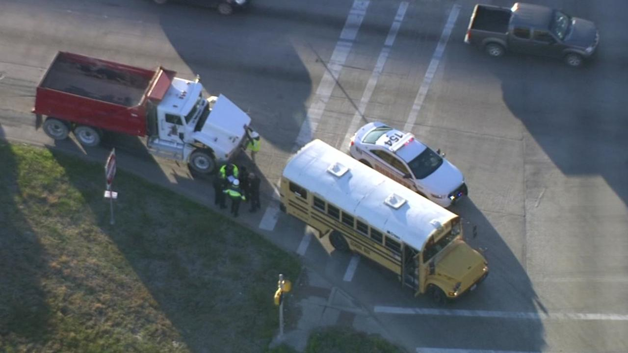 Bus, dump truck crash in east Harris County