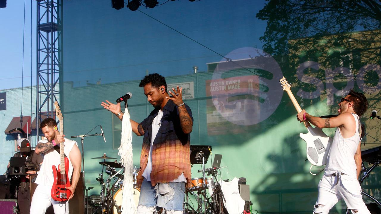 Miguel performs at the Spotify House at South by Southwest Music Festival on Monday, Mar. 14, 2016, in Austin, TX. (Photo by John Davisson/Invision/AP)