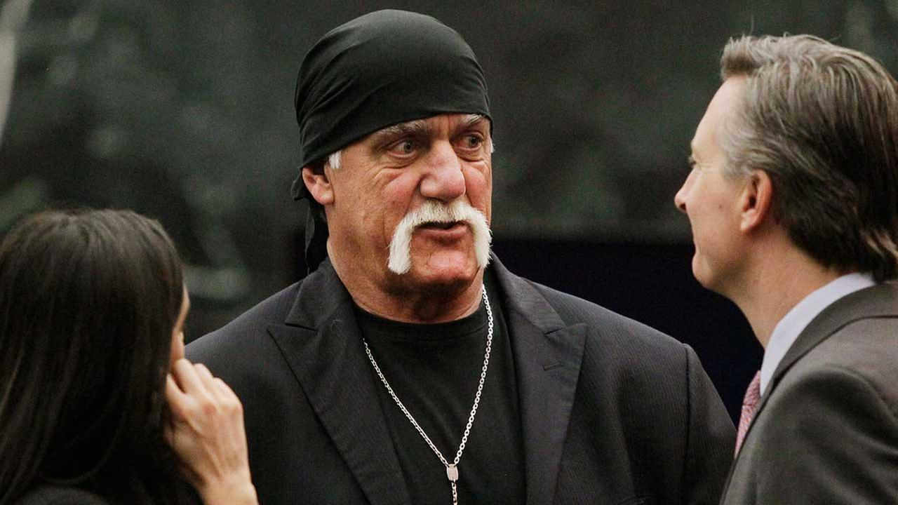 Hulk Hogan talks with his attorneys before the start of his trial Thursday, March 17, 2016, in St. Petersburg, Fla.
