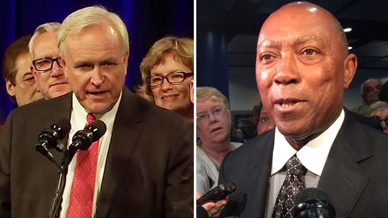 Bill King, left, and Houston Mayor Sylvester Turner