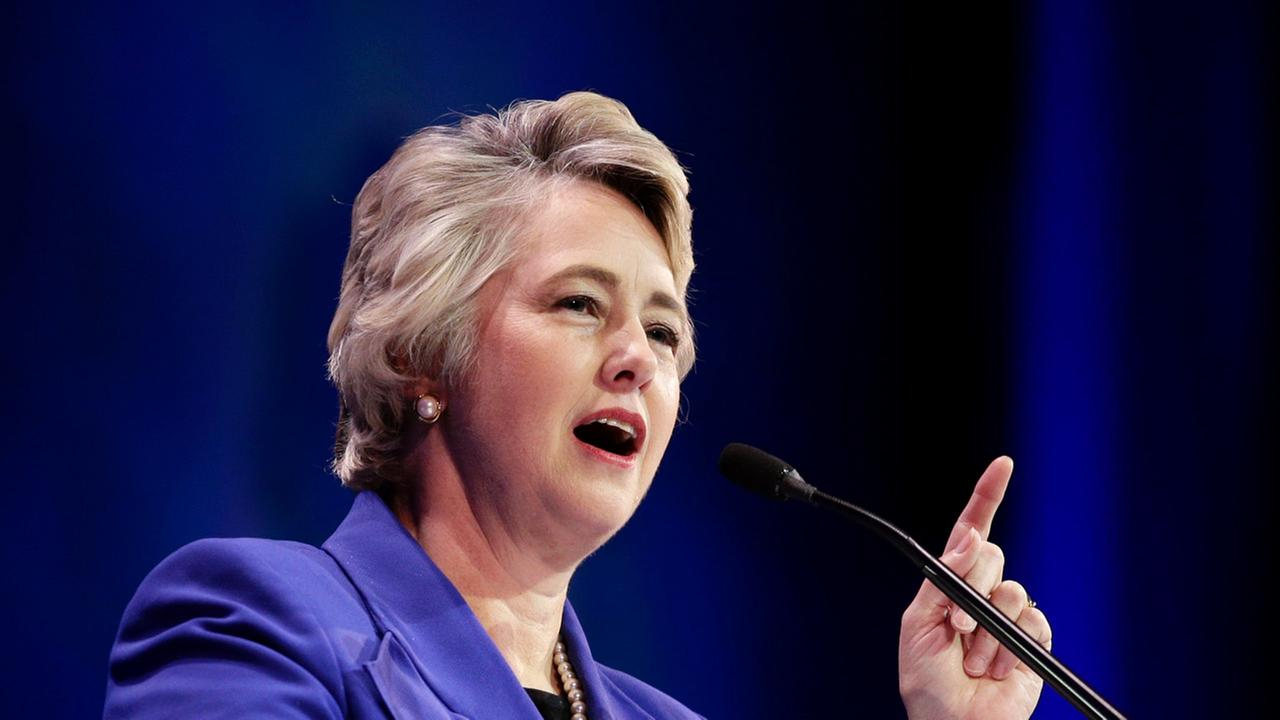 Houston Mayor Annise Parker speaks during a general session at the California Democrats State Convention on Saturday, March 8, 2014, in Los Angeles.