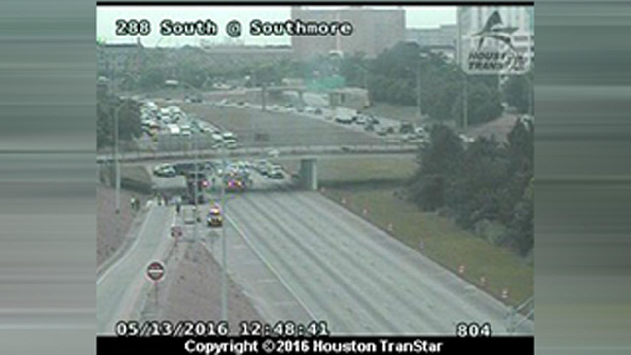 Left lanes reopen after fiery crash at Hwy 288 NB at Southmore