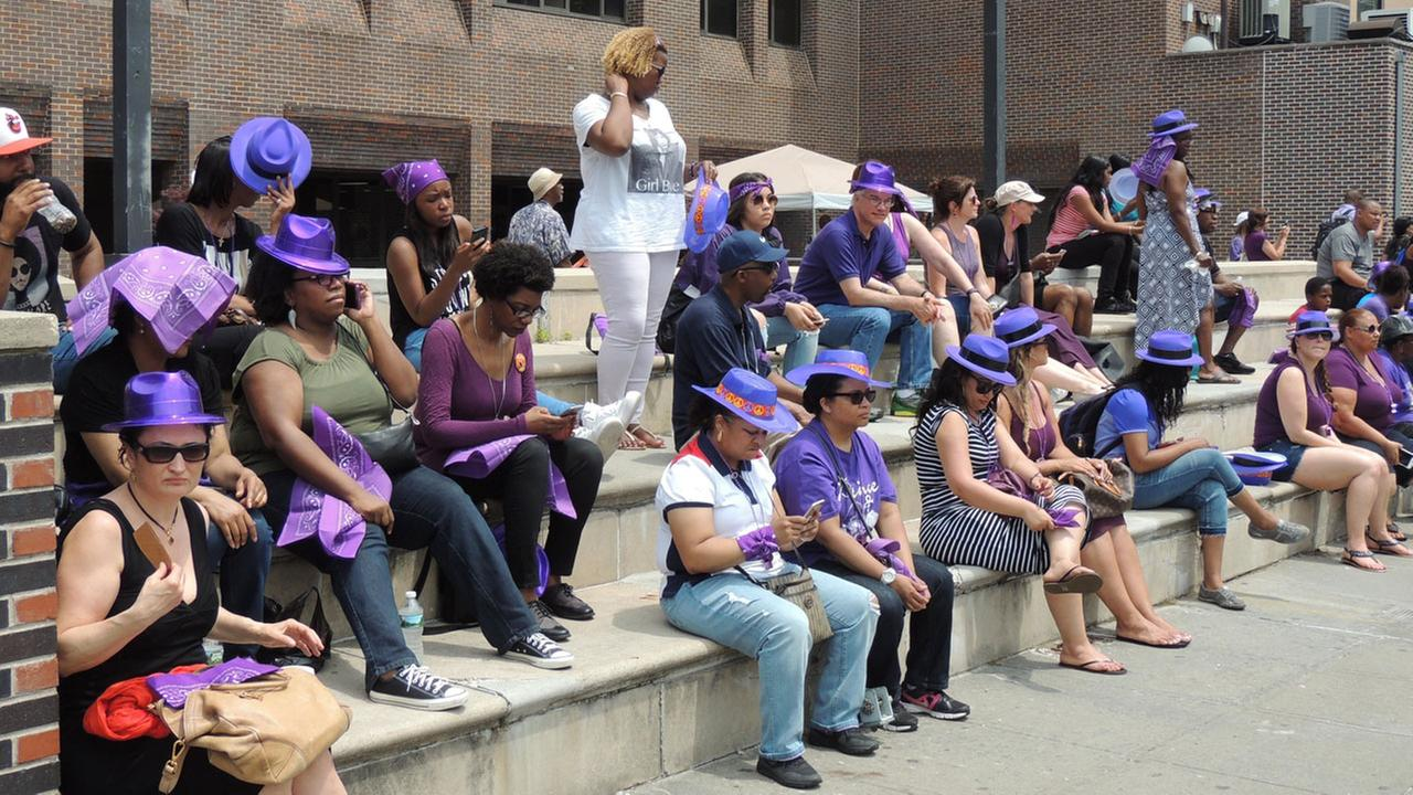 Fans, some wearing purple, attend the Prince Born Day Purple People Party in New York on Saturday, June 4, 2016.