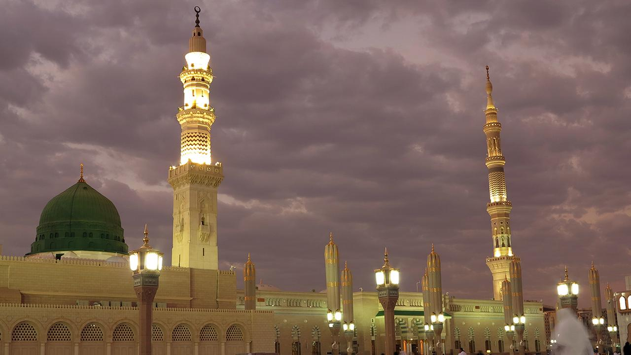In this July 5, 2013 file photo, worshippers visit the Prophets Mosque in Medina, Saudi Arabia