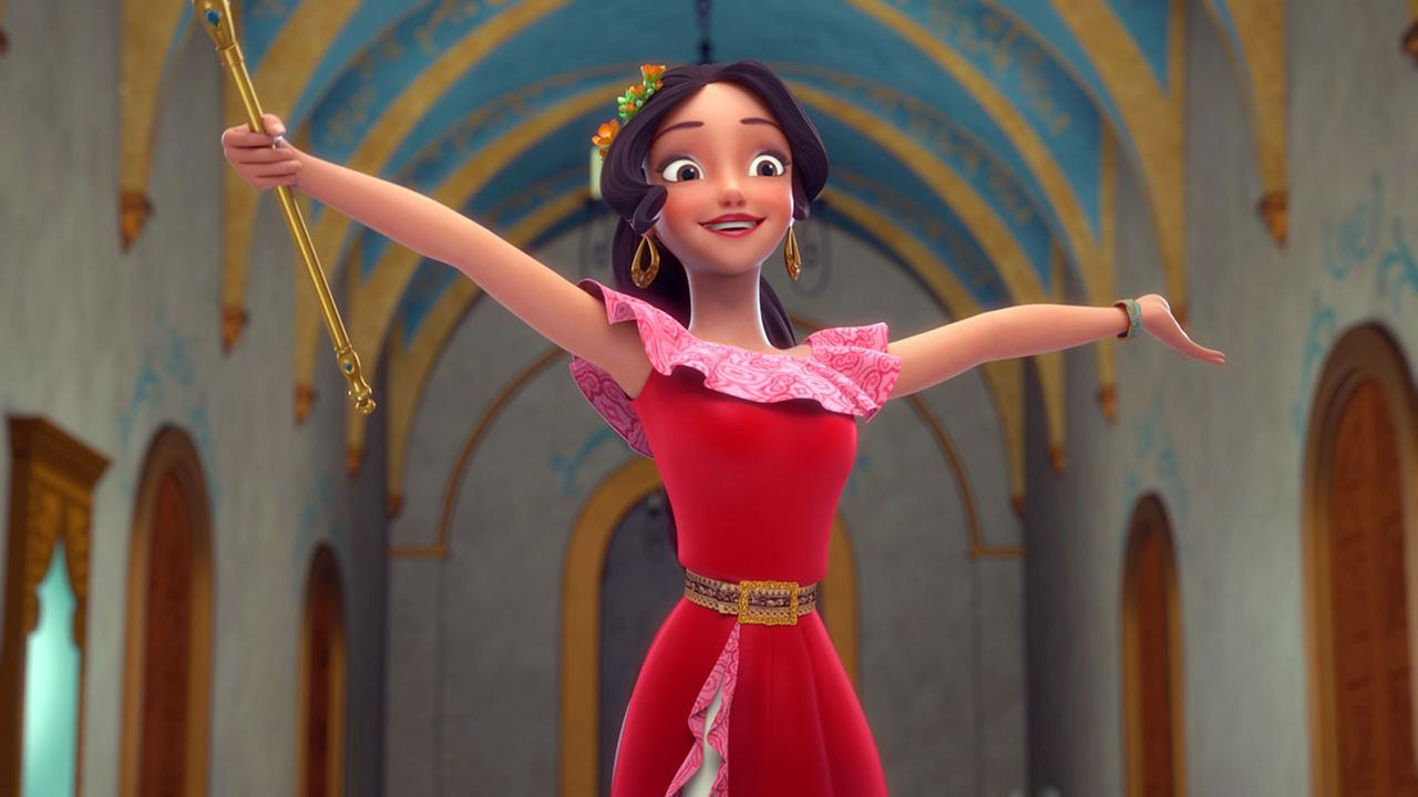 This image released by the Disney Channel shows the character Elena who becomes a crown princess in a scene from Elena of Avalor, premiering July 22 on Disney Channel.