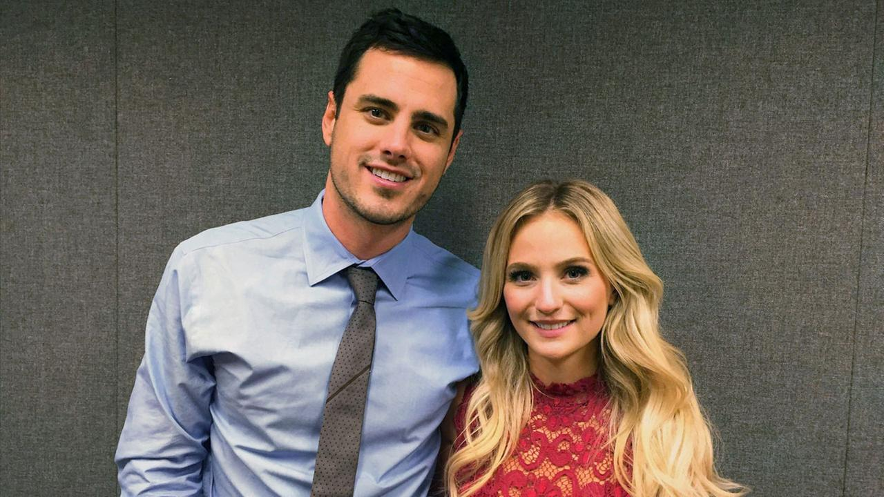Ben Higgins and Lauren Bushnell pose for a photo in New York. Higgins proposed marriage to Bushnell in the season finale of ABCs The Bachelor.