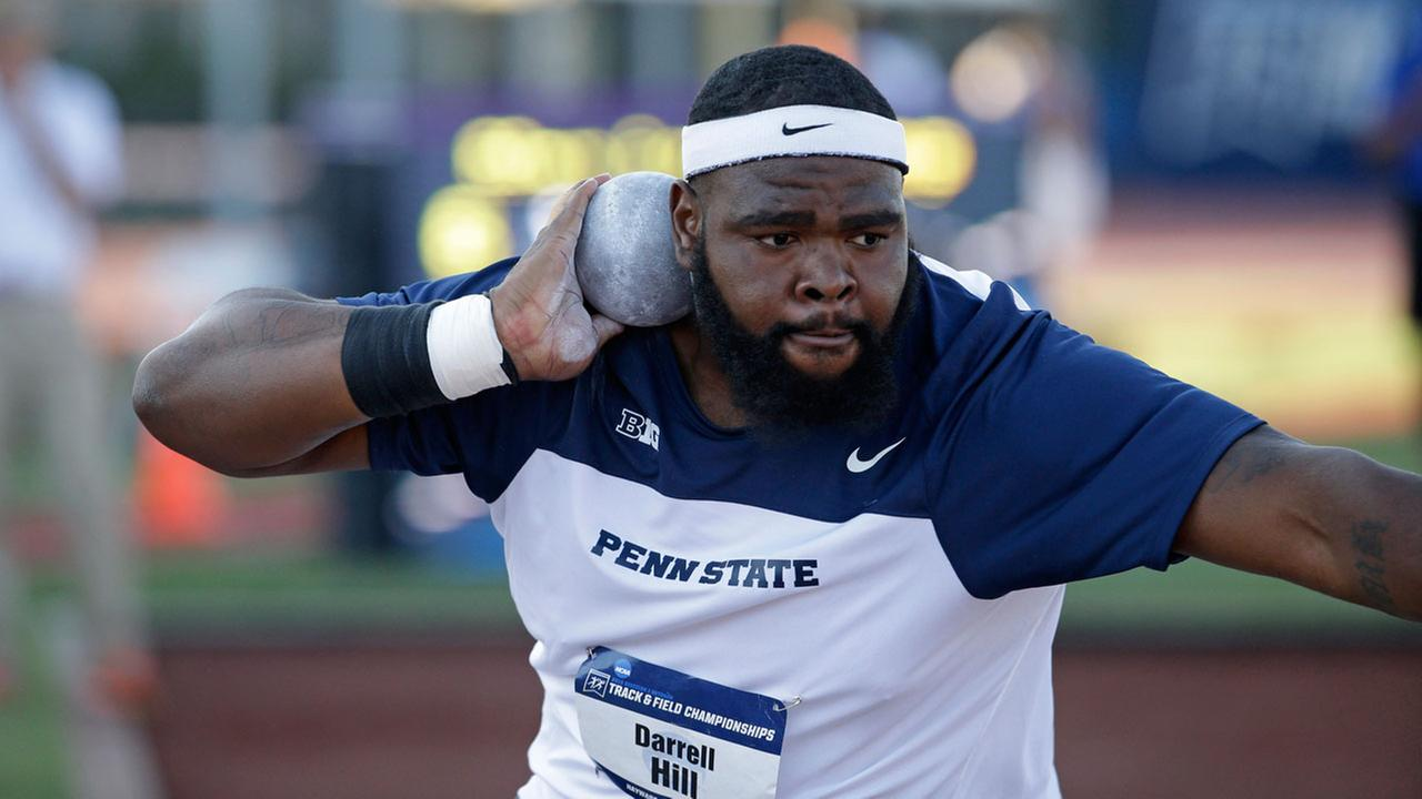 Penn States Darrell Hill competes in the shot put during the NCAA track and field championships in Eugene, Ore., Wednesday, June 10, 2015.