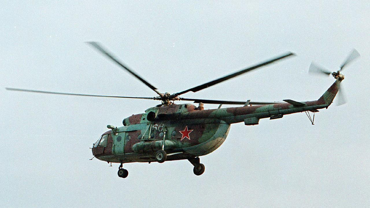 A helicopter similar to the one pictured has been shot down in Syria and Russian President Vladimir Putins spokesman says all people aboard it have been killed.