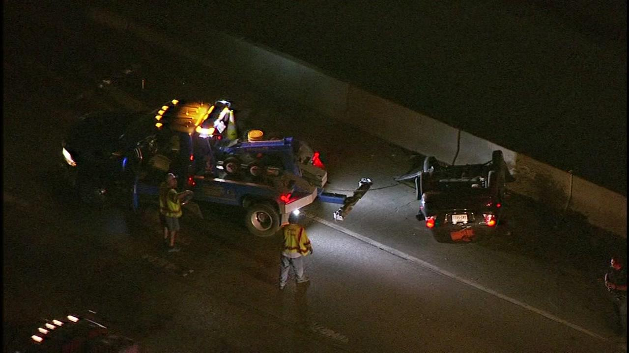 Gulf Fwy NB at Airport jammed by overturned vehicle