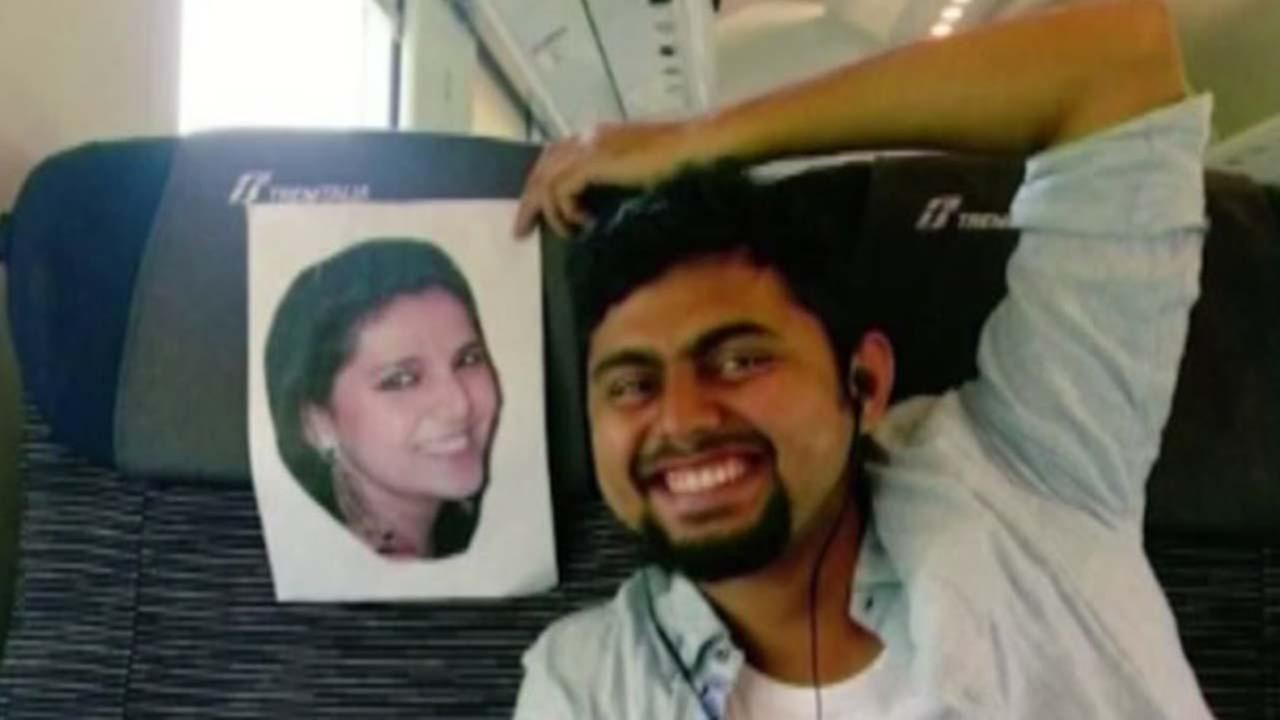 Faizan Patel with a cutout of his wife, Sana.