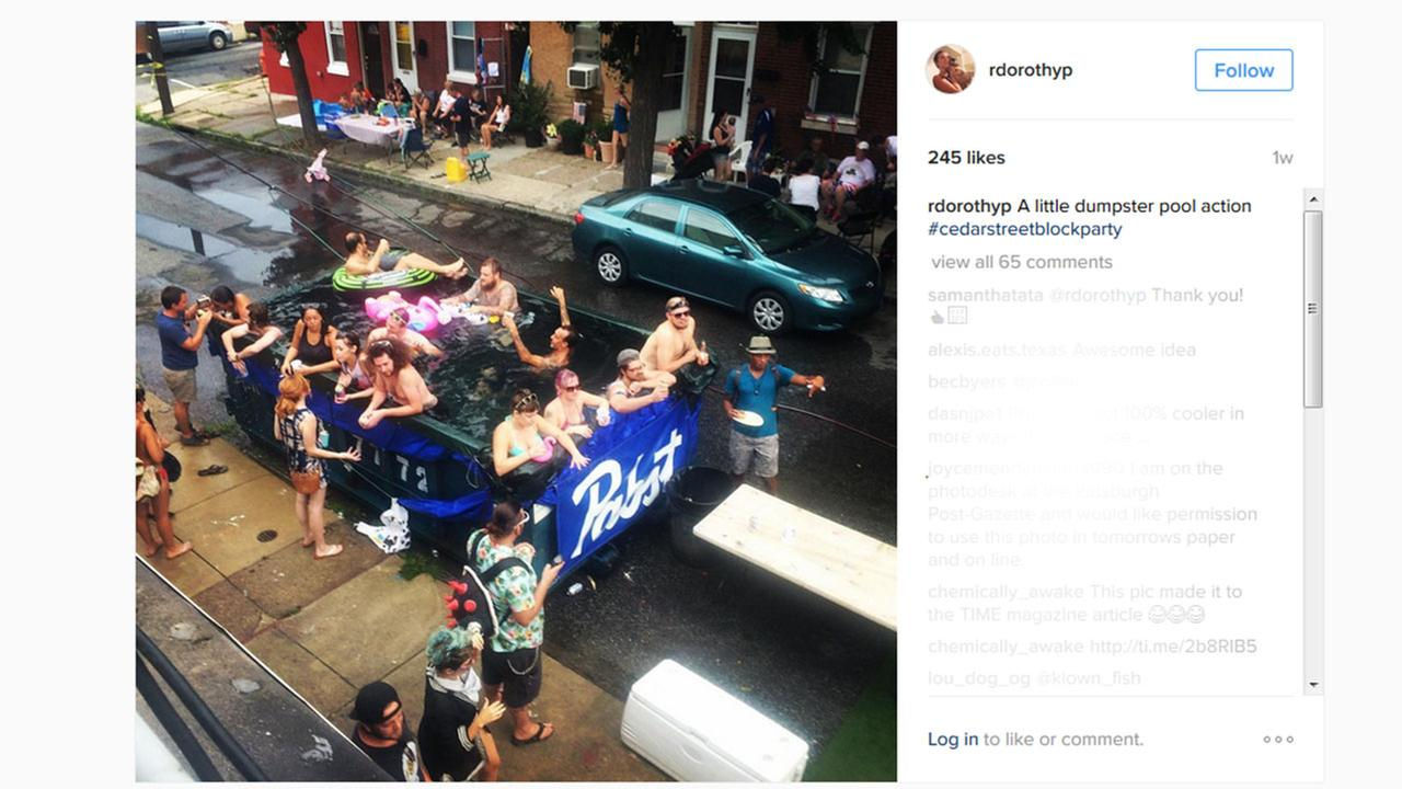 Philadelphia is urging residents not to swim in dumpsters after a rented trash bin was filled with fire hydrant water and transformed into a pool.