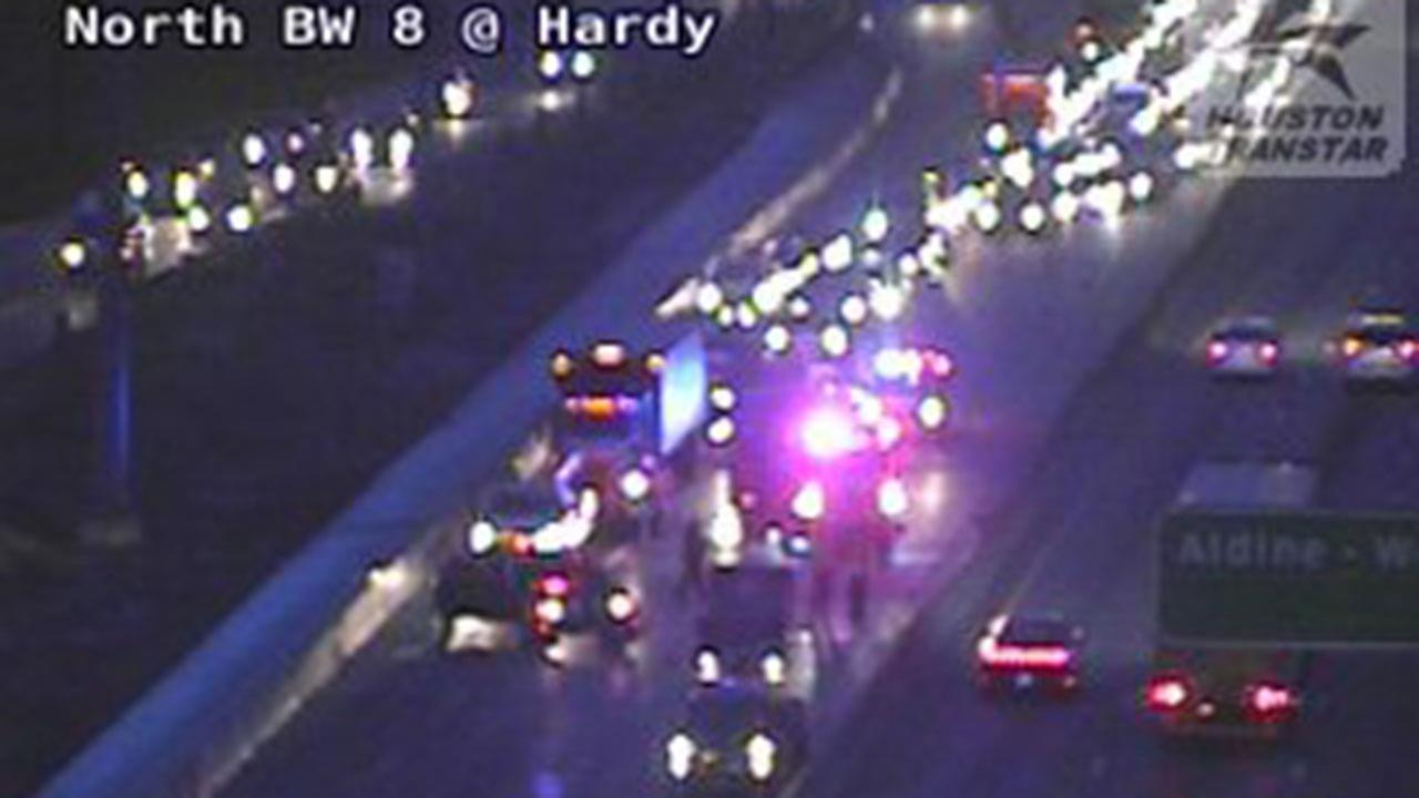 Another accident has two lanes closed at BWY 8 WB at the Hardy Toll
